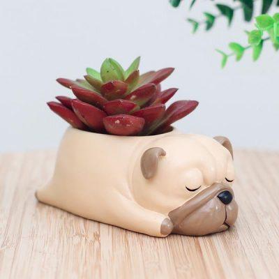 Sleeping Pug Flower Pot